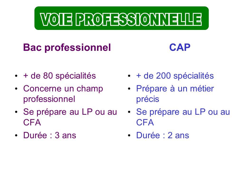 VOIE PROFESSIONNELLE VOIE PROFESSIONNELLE Bac professionnel CAP