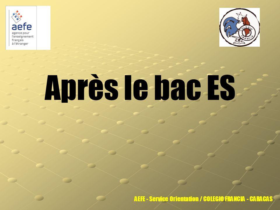 Après le bac ES AEFE - Service Orientation / COLEGIO FRANCIA - CARACAS
