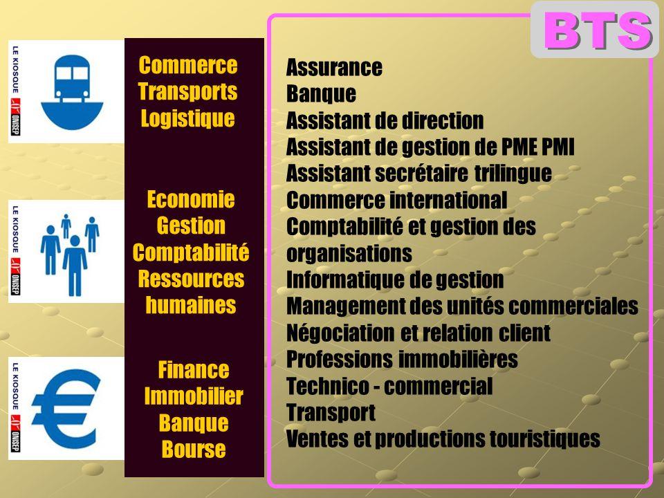 BTS Commerce Transports Logistique Assurance Banque