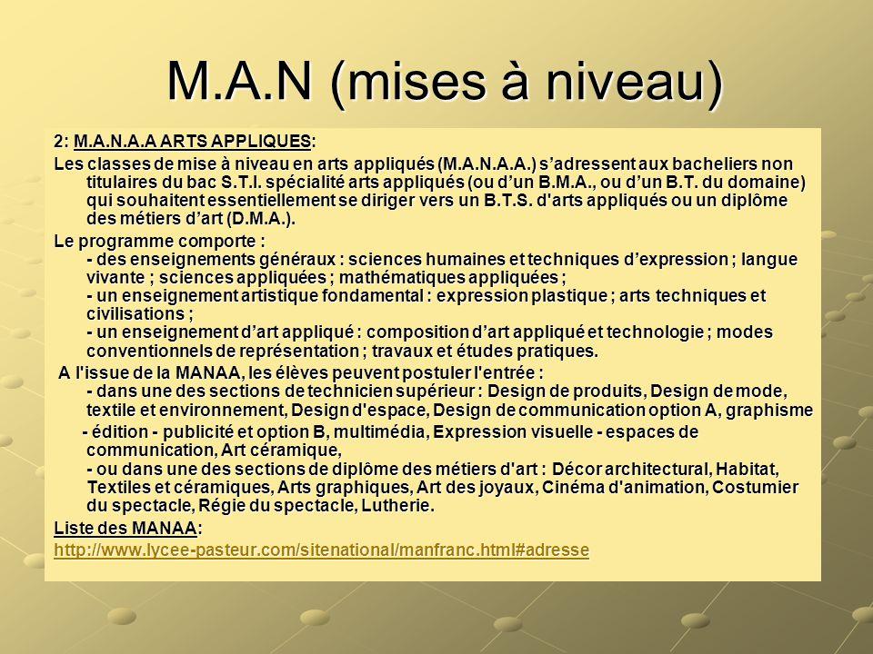 M.A.N (mises à niveau) 2: M.A.N.A.A ARTS APPLIQUES: