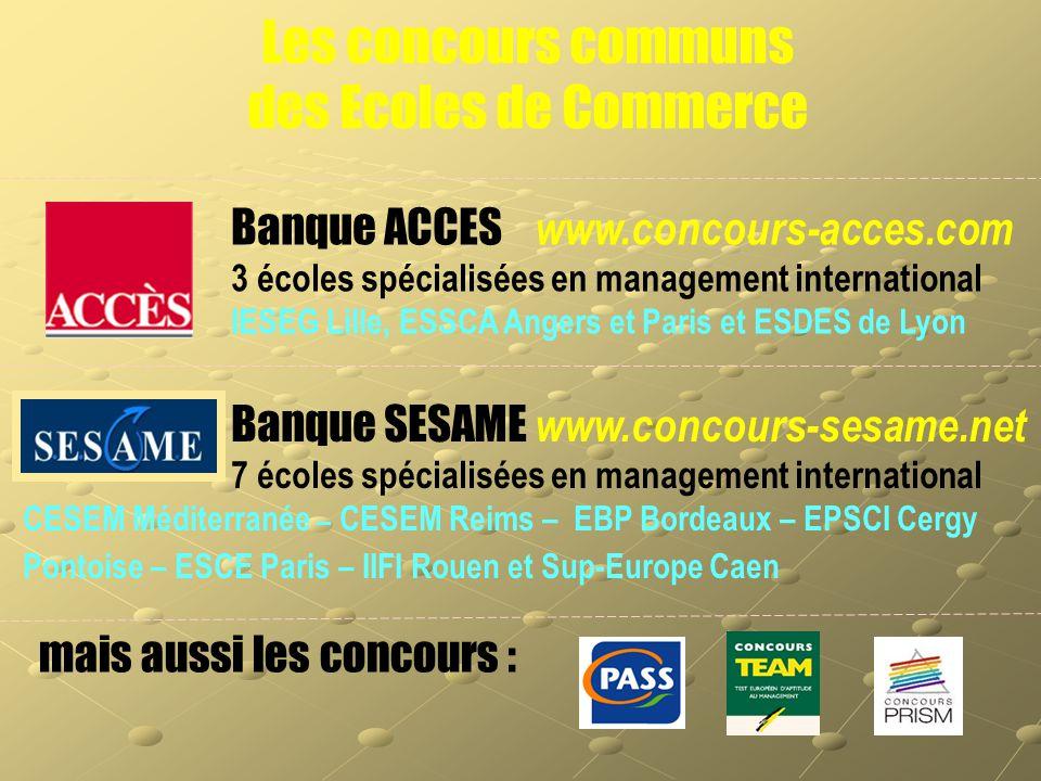 Les concours communs des Ecoles de Commerce