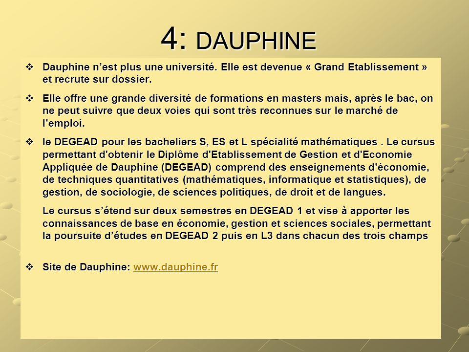 4: DAUPHINE Dauphine n'est plus une université. Elle est devenue « Grand Etablissement » et recrute sur dossier.