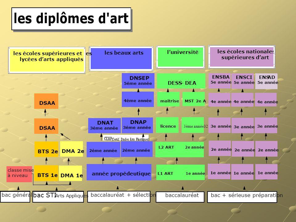 bac STI baccalauréat + sélection DNAT DNAP DMA 1e DMA 2e BTS 1e BTS 2e