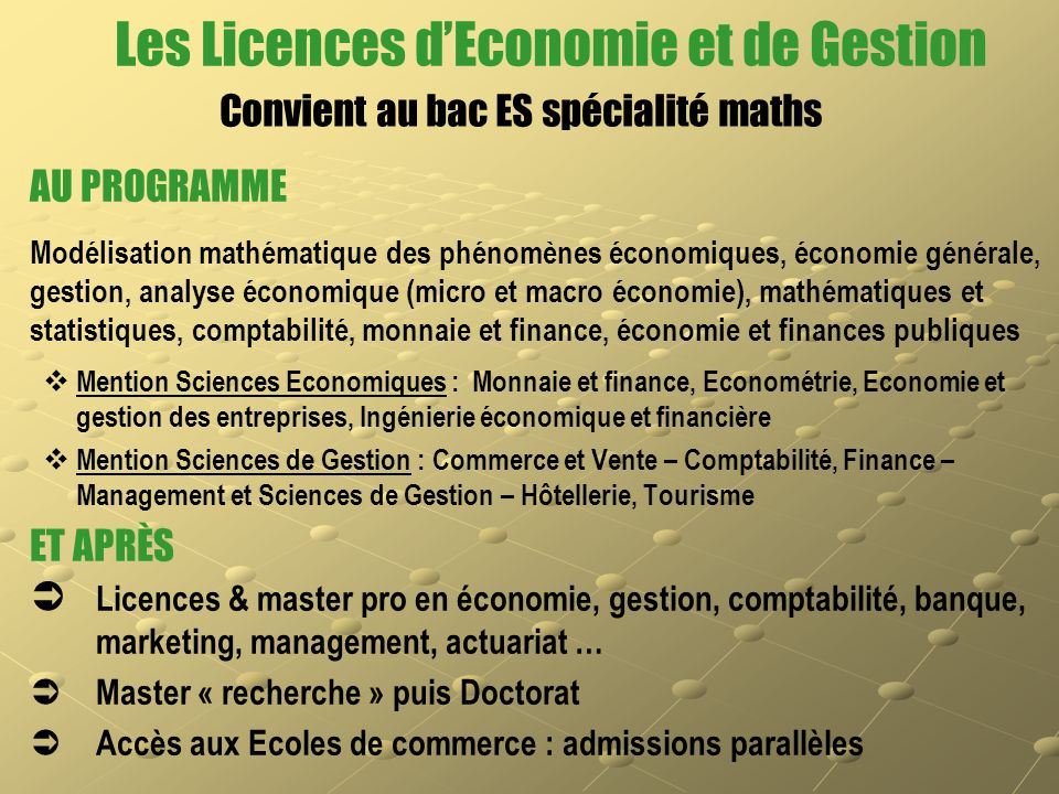 Les Licences d'Economie et de Gestion