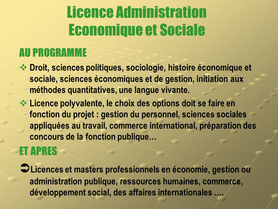 Licence Administration Economique et Sociale