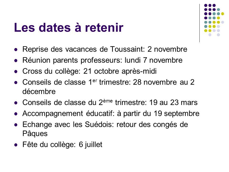 Les dates à retenir Reprise des vacances de Toussaint: 2 novembre