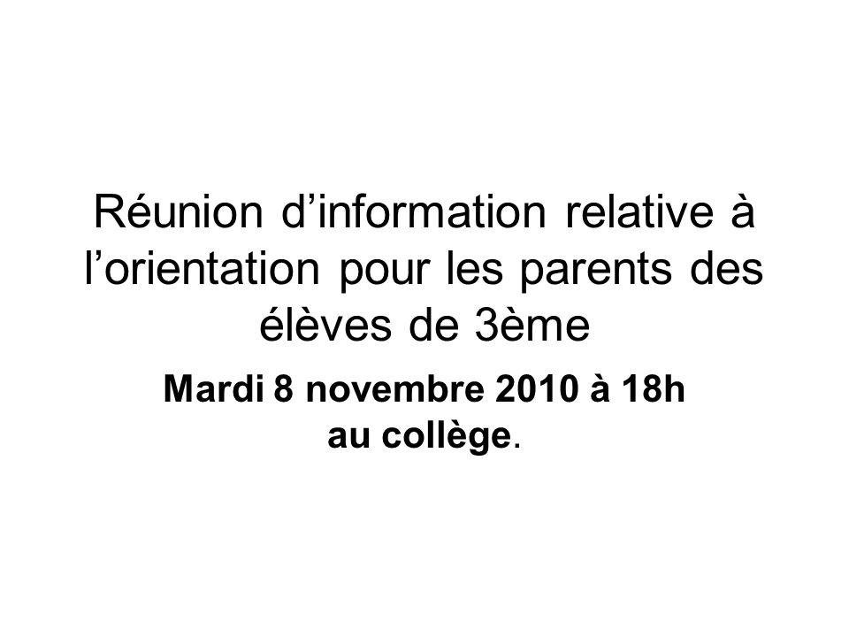 Mardi 8 novembre 2010 à 18h au collège.