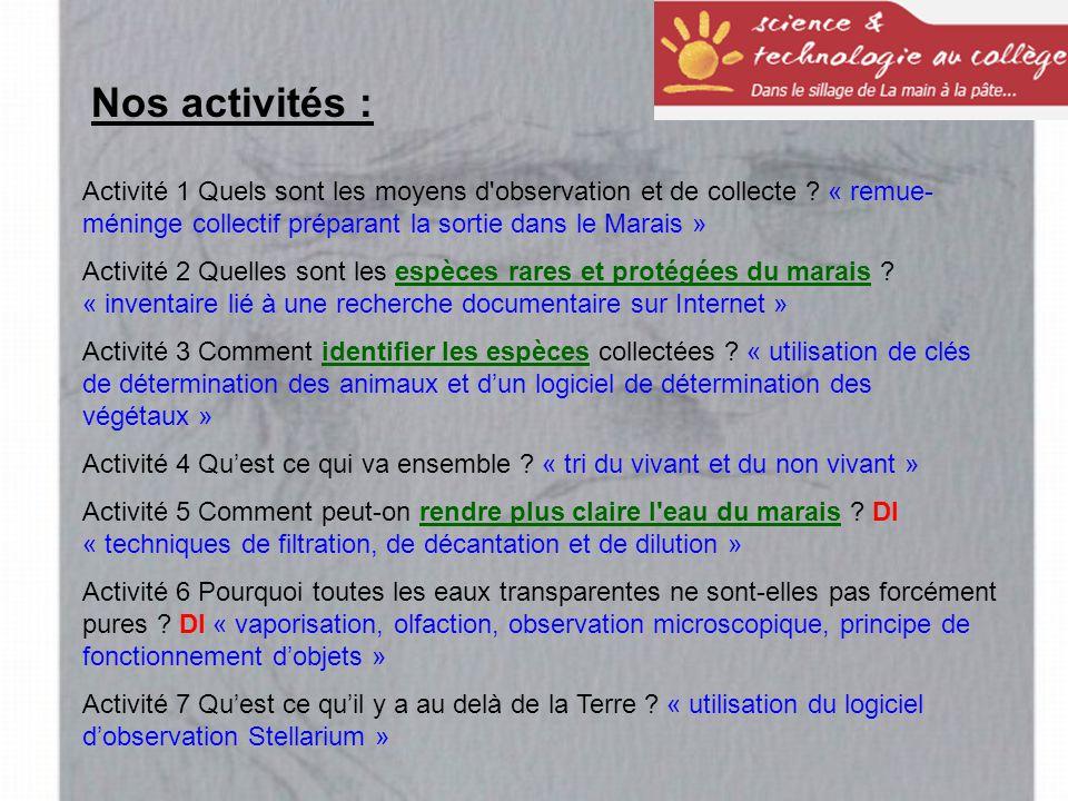 Nos activités : Activité 1 Quels sont les moyens d observation et de collecte « remue-méninge collectif préparant la sortie dans le Marais »