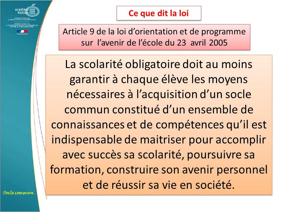 Ce que dit la loi Article 9 de la loi d'orientation et de programme sur l'avenir de l'école du 23 avril 2005.
