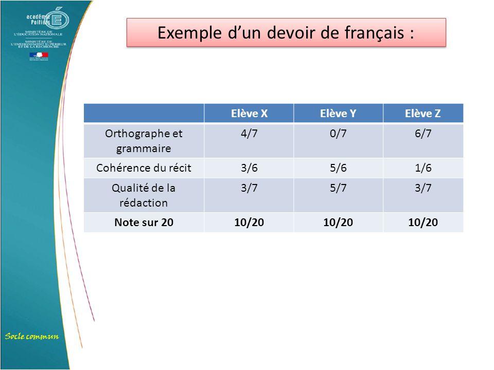 Exemple d'un devoir de français :