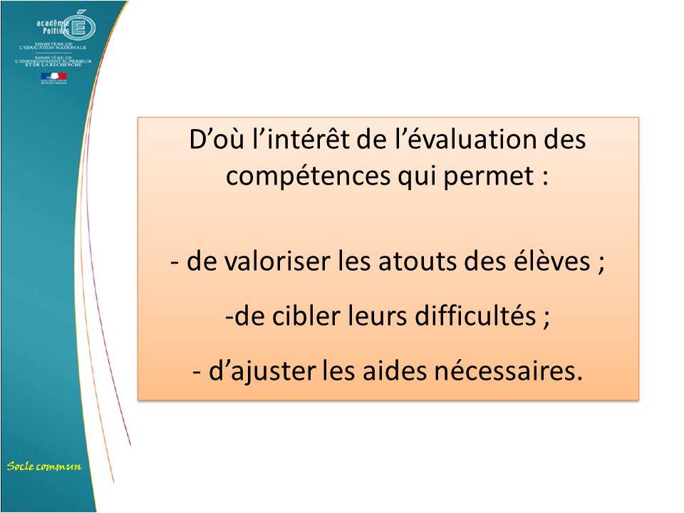 D'où l'intérêt de l'évaluation des compétences qui permet :