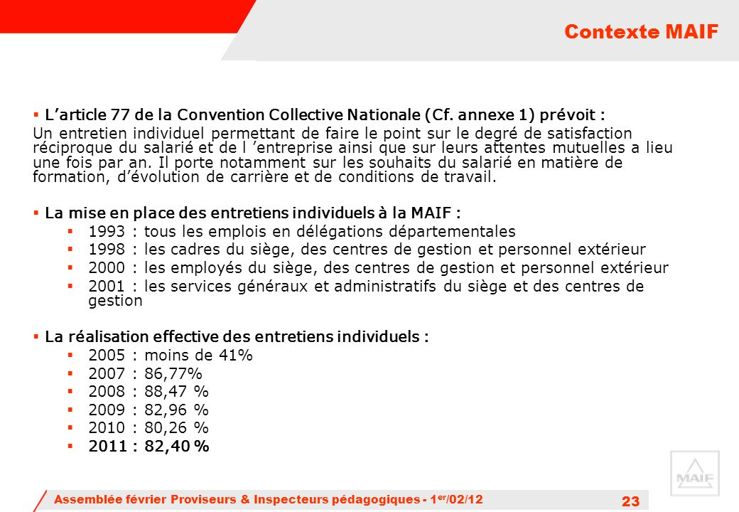 Contexte MAIF L'article 77 de la Convention Collective Nationale (Cf. annexe 1) prévoit :