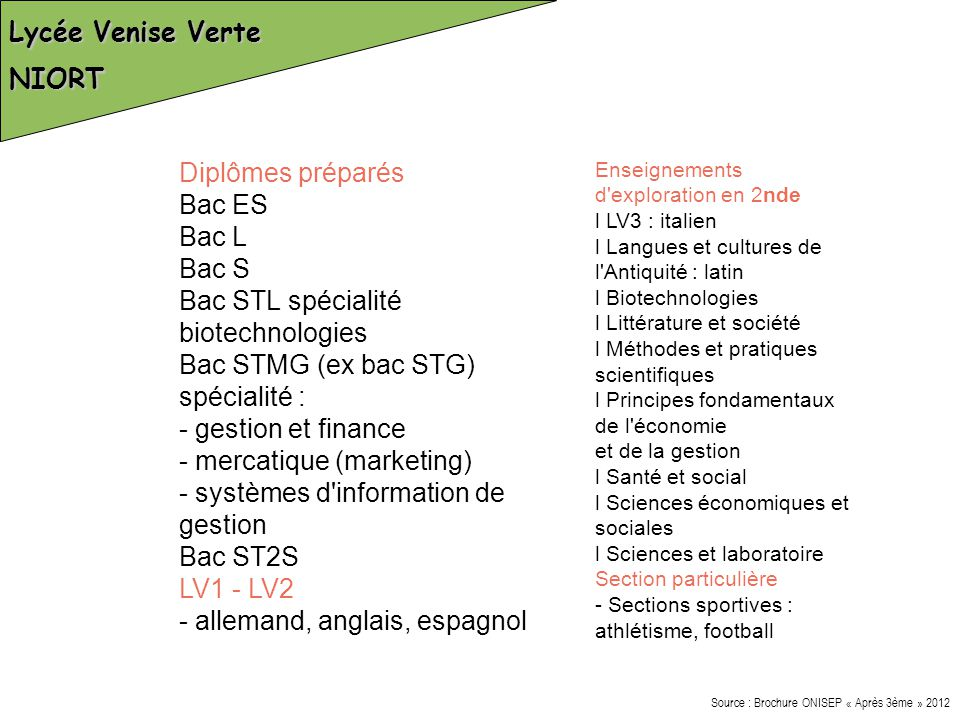 Bac STL spécialité biotechnologies Bac STMG (ex bac STG) spécialité :