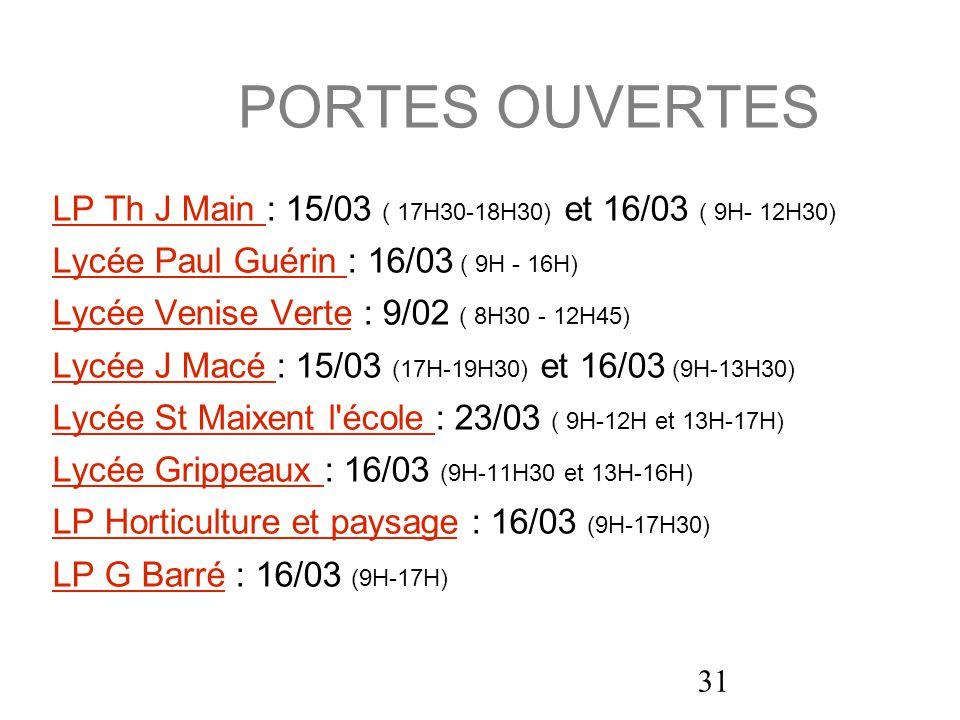 PORTES OUVERTES LP Th J Main : 15/03 ( 17H30-18H30) et 16/03 ( 9H- 12H30) Lycée Paul Guérin : 16/03 ( 9H - 16H)