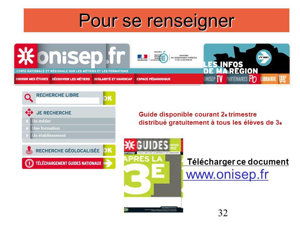 Pour se renseigner www.onisep.fr Télécharger ce document