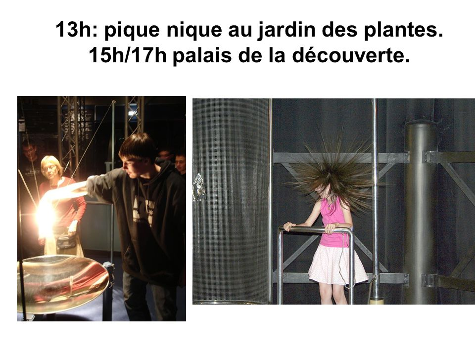 13h: pique nique au jardin des plantes. 15h/17h palais de la découverte.