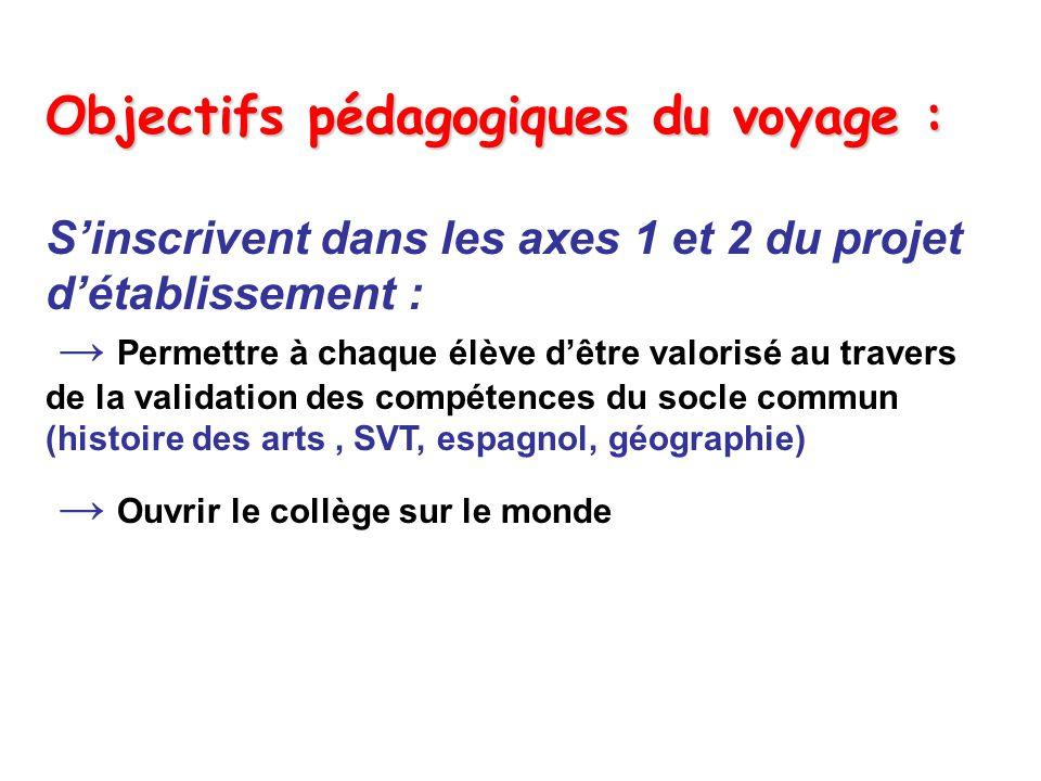 Objectifs pédagogiques du voyage :