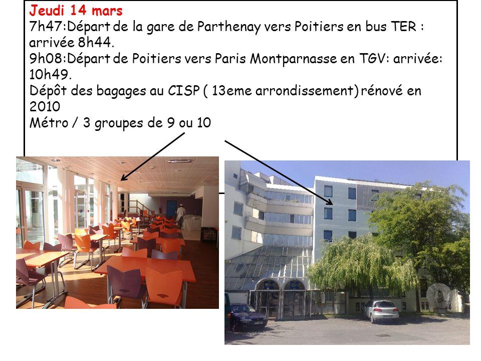 Jeudi 14 mars 7h47:Départ de la gare de Parthenay vers Poitiers en bus TER : arrivée 8h44.