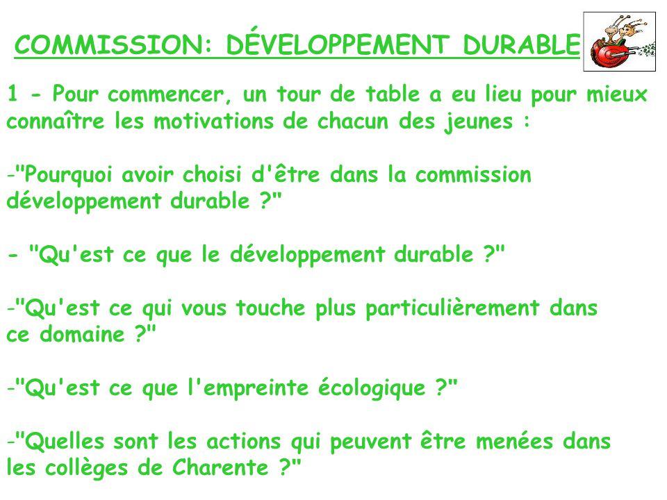 COMMISSION: DÉVELOPPEMENT DURABLE