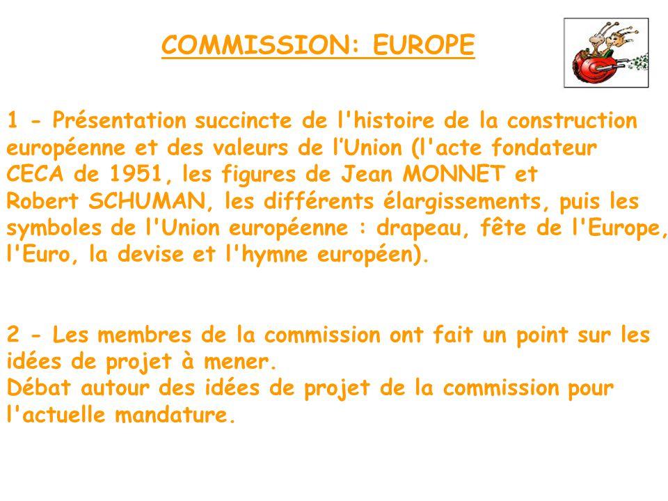 COMMISSION: EUROPE 1 - Présentation succincte de l histoire de la construction. européenne et des valeurs de l'Union (l acte fondateur.