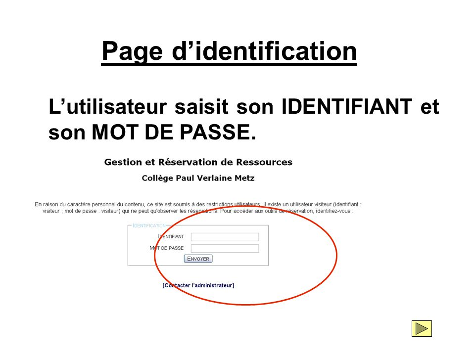 Page d'identification