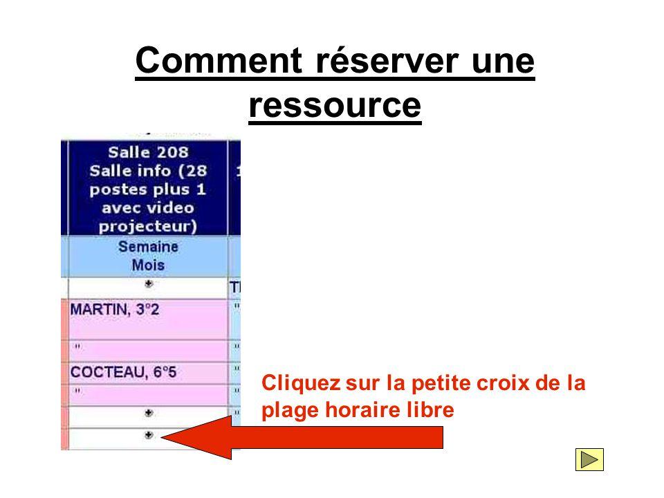 Comment réserver une ressource