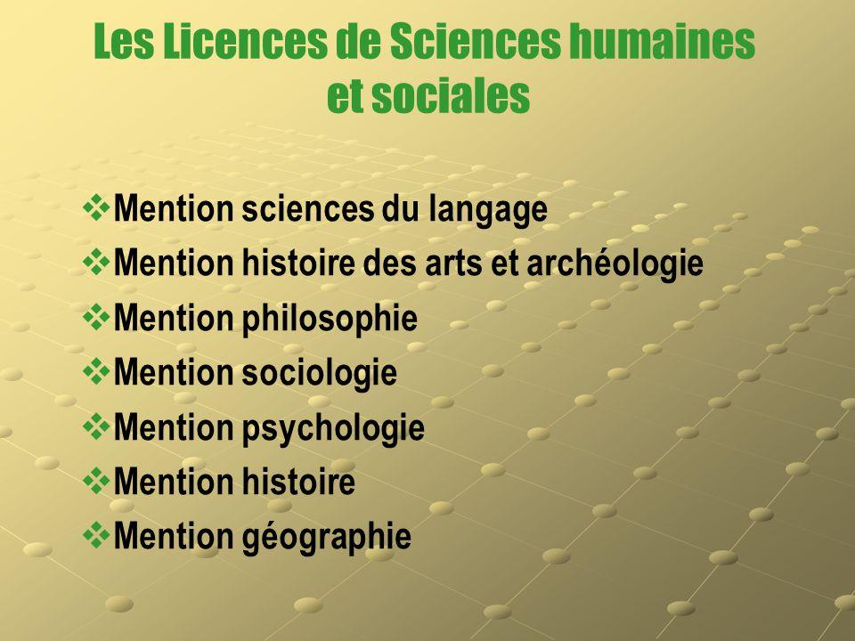 Les Licences de Sciences humaines et sociales