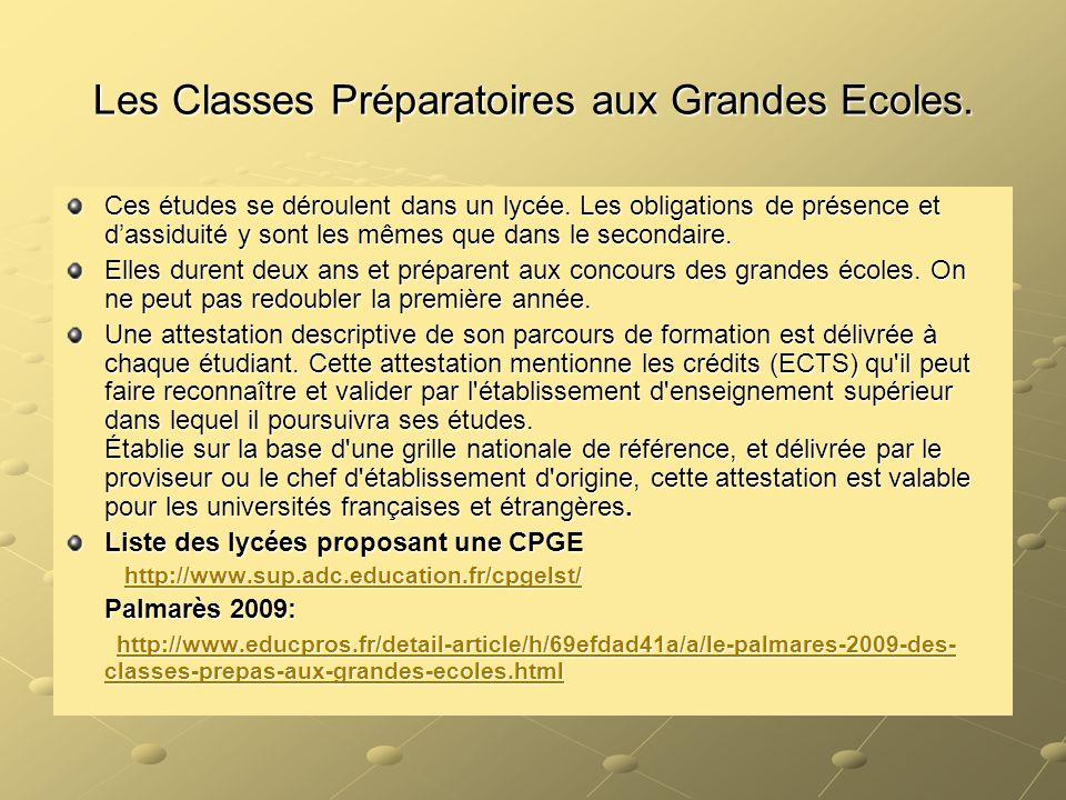 Les Classes Préparatoires aux Grandes Ecoles.