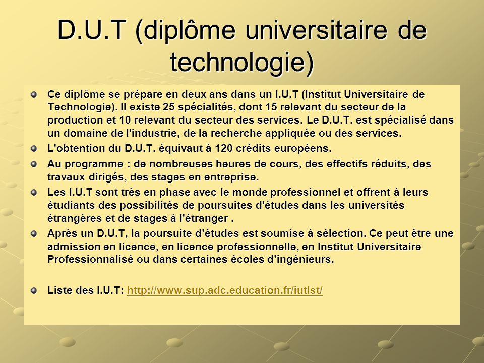 D.U.T (diplôme universitaire de technologie)