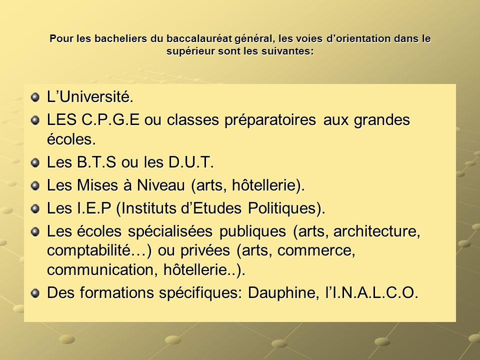 LES C.P.G.E ou classes préparatoires aux grandes écoles.