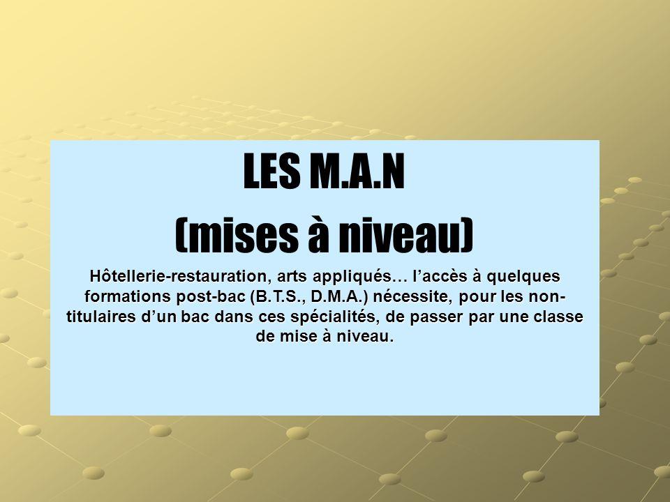 LES M.A.N (mises à niveau)