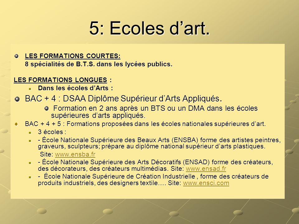5: Ecoles d'art. BAC + 4 : DSAA Diplôme Supérieur d'Arts Appliqués.