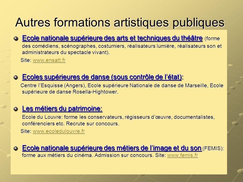 Autres formations artistiques publiques