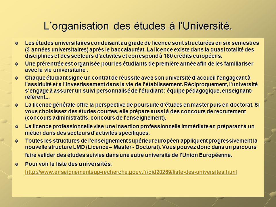 L'organisation des études à l'Université.