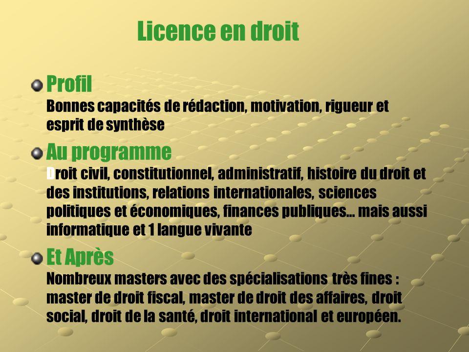 Licence en droit Profil Bonnes capacités de rédaction, motivation, rigueur et esprit de synthèse.