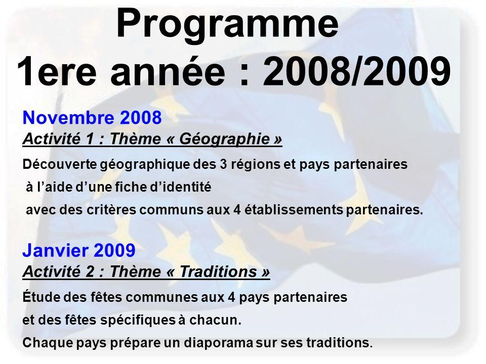 Programme 1ere année : 2008/2009 Novembre 2008 Janvier 2009