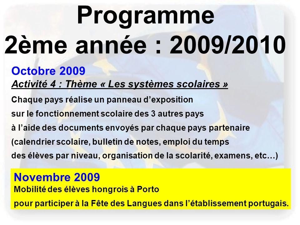 Programme 2ème année : 2009/2010 Octobre 2009 Novembre 2009