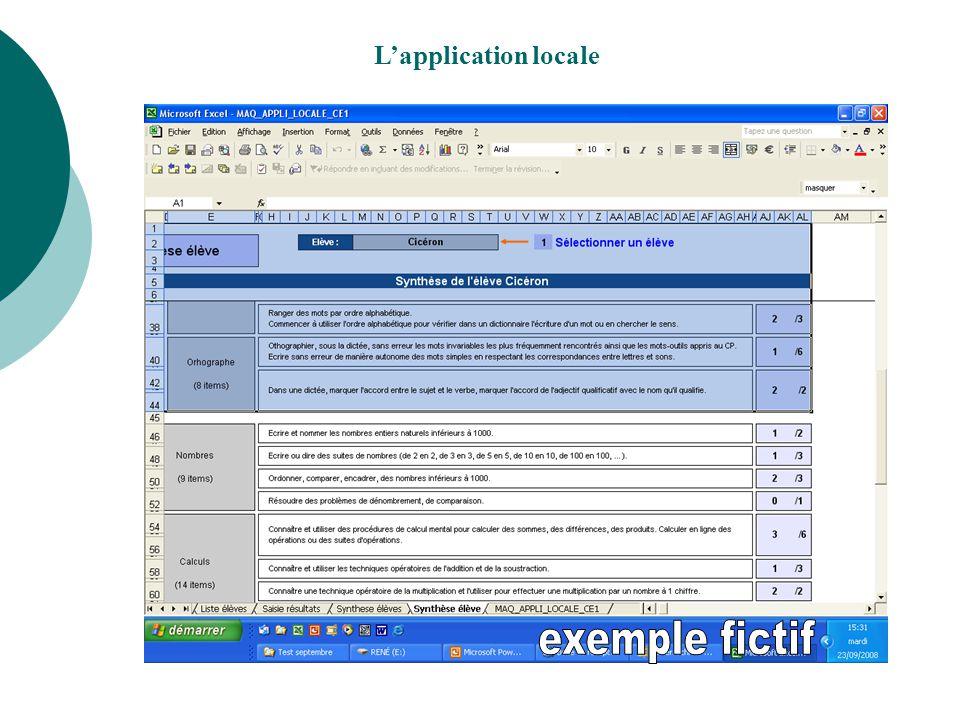 L'application locale exemple fictif