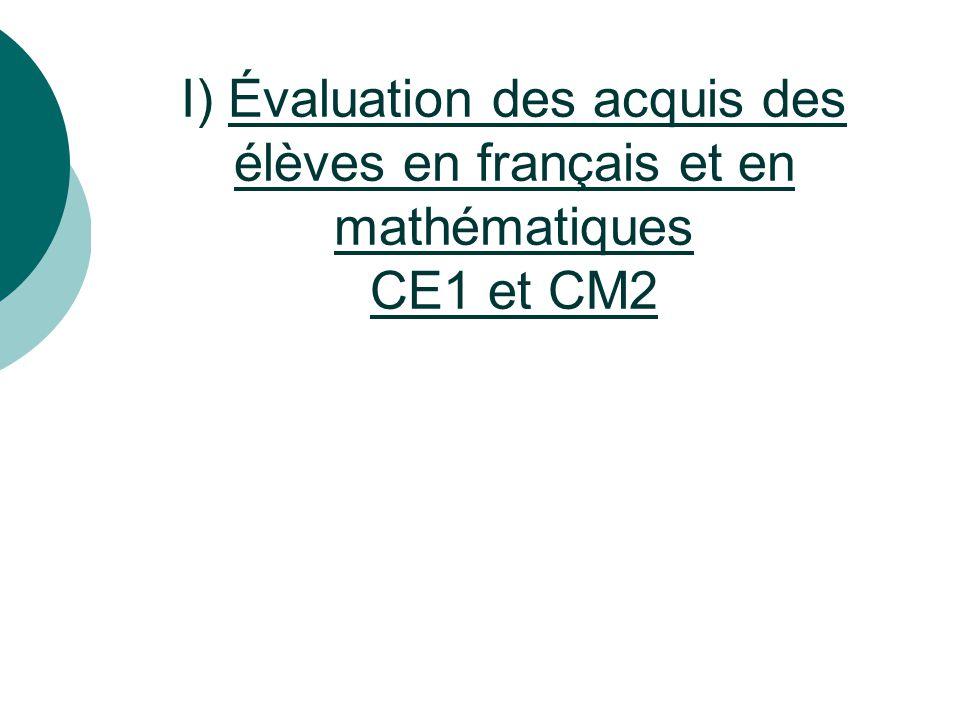 I) Évaluation des acquis des élèves en français et en mathématiques