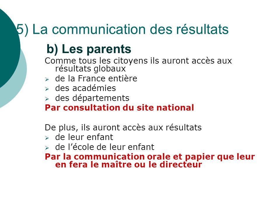 5) La communication des résultats