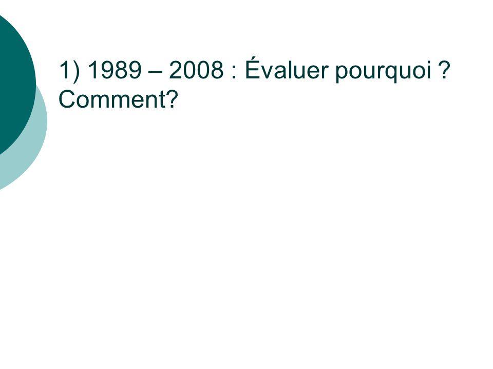 1) 1989 – 2008 : Évaluer pourquoi Comment