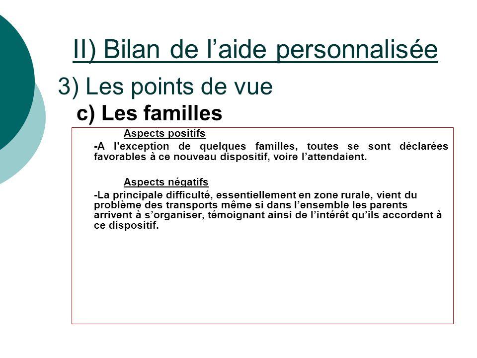 II) Bilan de l'aide personnalisée