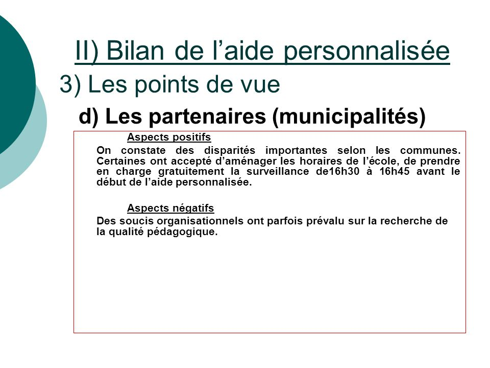 d) Les partenaires (municipalités)