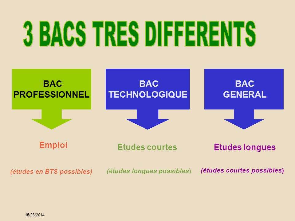 3 BACS TRES DIFFERENTS BAC PROFESSIONNEL BAC TECHNOLOGIQUE BAC GENERAL