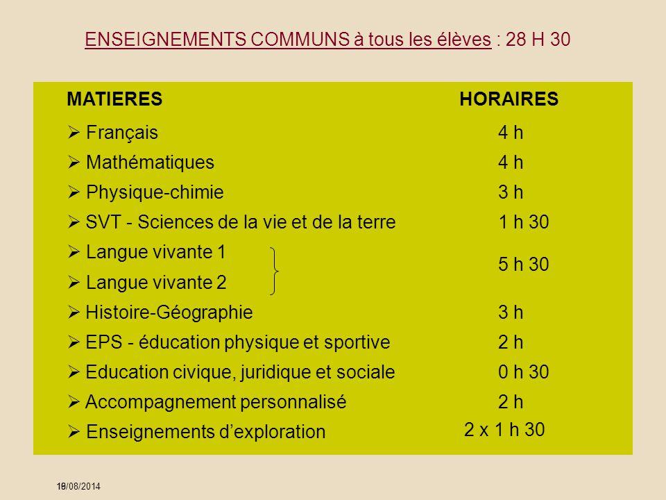 ENSEIGNEMENTS COMMUNS à tous les élèves : 28 H 30