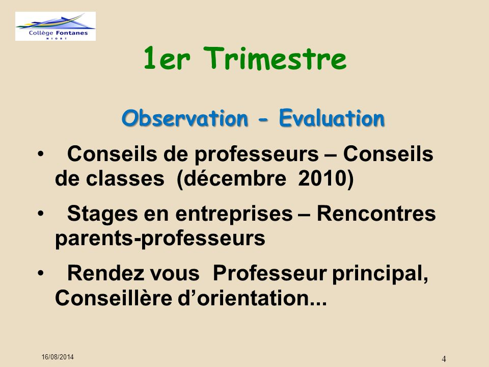 1er Trimestre Observation - Evaluation