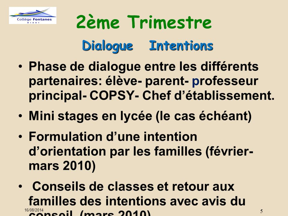 2ème Trimestre Dialogue Intentions