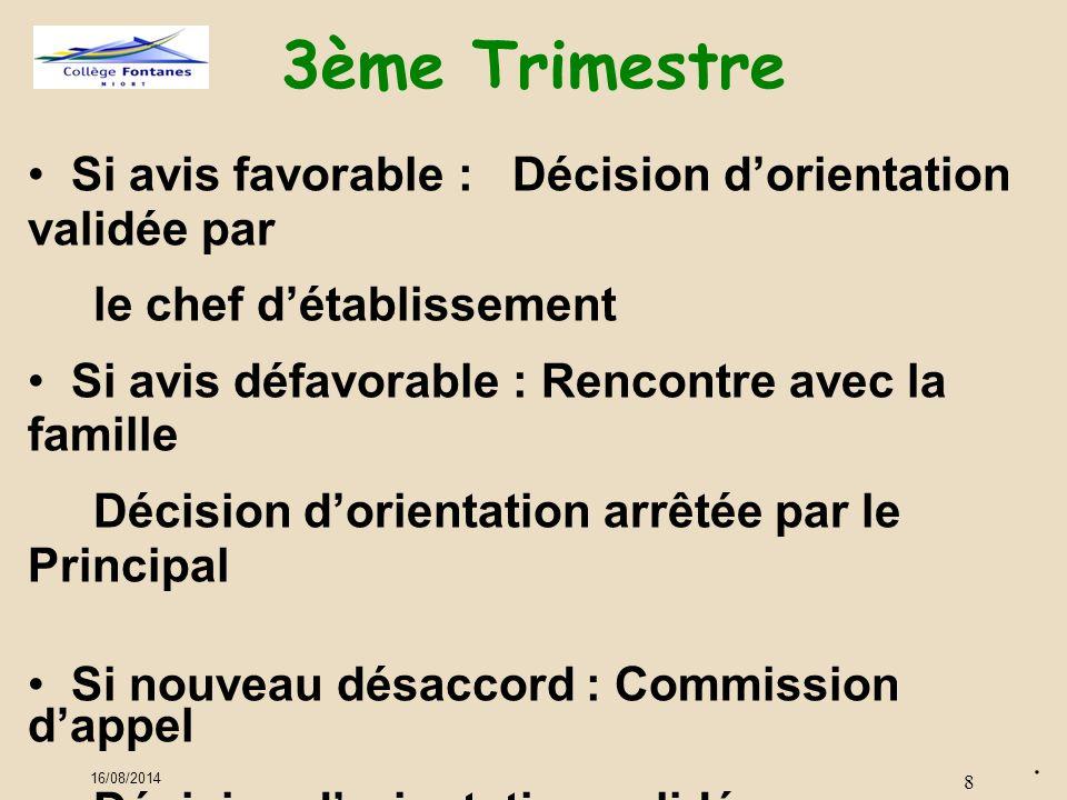 3ème Trimestre Si avis favorable : Décision d'orientation validée par