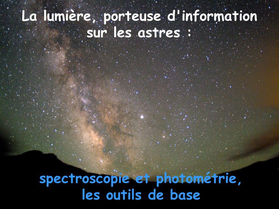 La lumière, porteuse d information spectroscopie et photométrie,