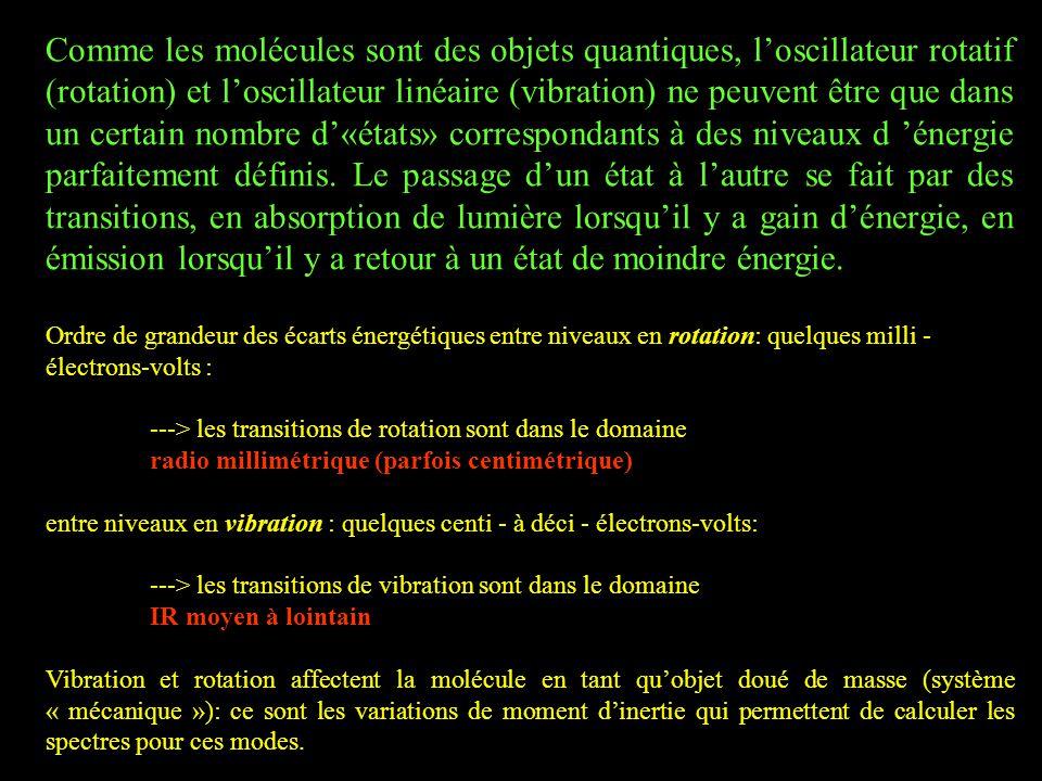 Comme les molécules sont des objets quantiques, l'oscillateur rotatif (rotation) et l'oscillateur linéaire (vibration) ne peuvent être que dans un certain nombre d'«états» correspondants à des niveaux d 'énergie parfaitement définis. Le passage d'un état à l'autre se fait par des transitions, en absorption de lumière lorsqu'il y a gain d'énergie, en émission lorsqu'il y a retour à un état de moindre énergie.